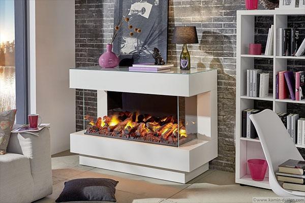 imagen de una habitacion moderna decorada y calentada una chimenea eléctrica dimplex