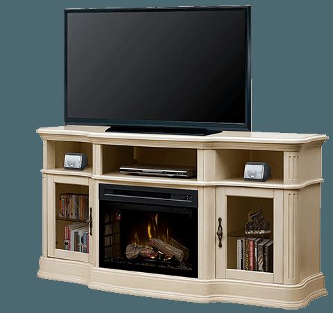 inserto para chimenea empotrado en un mueble para tv