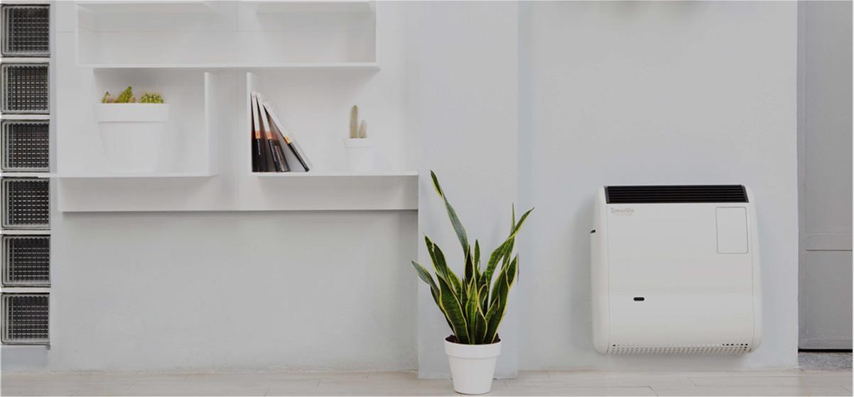 una sala moderna con un calefactor a gas marca gazelle techno